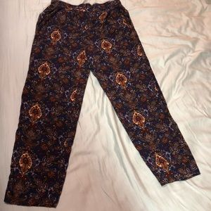 New - Navy Blue Printed Skinny Pants with Pockets